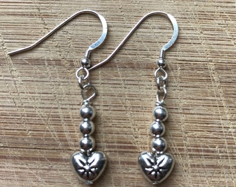 Heart earrings, Beaded earrings