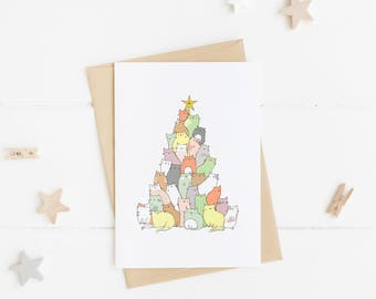 Cat Christmas Card, Funny Christmas Card, Christmas Tree, Christmas Card Pack, Christmas Card Set, Handmade, Cat gift ideas, Cat lover gift