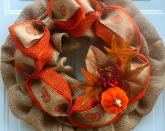 Fall Wreath for Front Door/Fall Burlap Wreath/Fall Door Wreaths/Fall Decorations/Fall Front Door Wreath/Fall Outdoor Wreaths/Fall Wreath