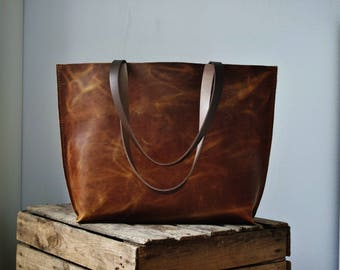 Brown leather tote bag, real leather shopper, leather bag, leather purse, leather handbag