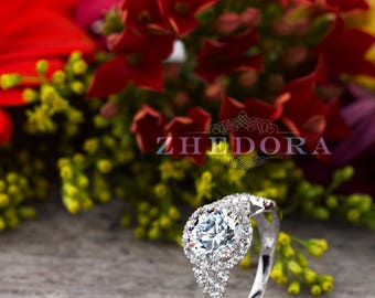 Round Cut Engagement Ring in Solid 14k/18k  Swirl Engagement Ring, Moissanite Engagement Ring , Moissanite Round Cut Ring By Zhedora