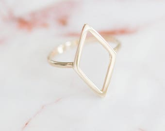 Diamond Shape Frame Ring, Sterling Silver Triangle Ring, Double Triangle Ring, Gold Minimalist Ring, Stacking Ring, Rose Gold Geometric Ring
