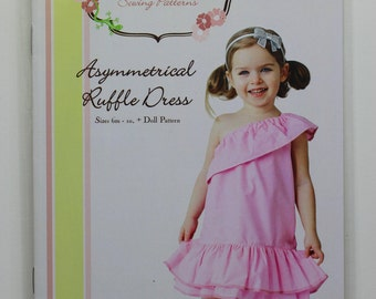Asymmetrical Ruffle Dress:  girls and babies 6 months to size 10, plus doll pattern.