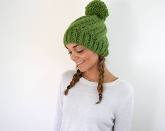 Knit Hat Green Chunky Knitted Tuque - Cable Slouchy Beanie