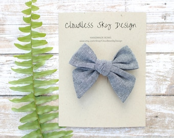 chambray bow, hair bows, fabric bow, girls hair bow, bow for girls, large bow, gray bow, hair clip, toddler hair bow