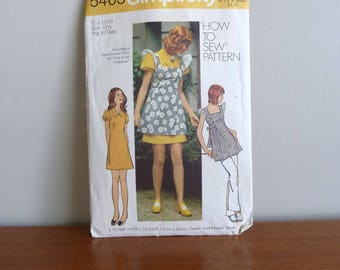 1972 Pattern - Young Junior Teen Smock and Mini Dress - Simplicity Printed 5465 - Size 13/14 - Vintage 1970s Sewing Pattern - 33-26-36