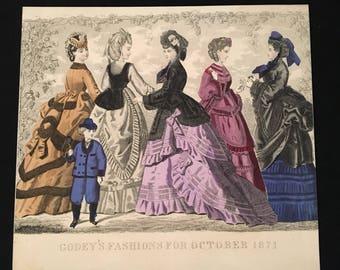 1871 Victorian Fashion Print, Original Antique Print, Hand Colored Print from Godey's Fashions, 19th Century Fashion