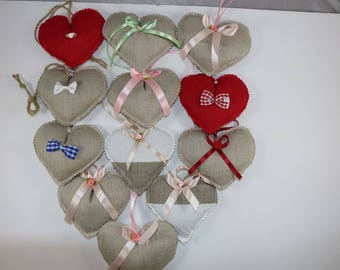 Lavender Hearts-Natural or Cotton