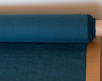 LINEN FABRIC 205GSM  Teal blue, dark blue-emerald  Middleweight washed and softened pure 100% linen fabric