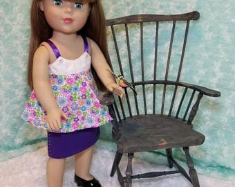 Sprint Flower Tank and Purple Skirt with Rhinestone Siding - American Girl & Friends
