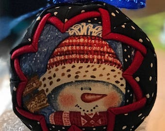 Quilted Snowman Christmas Ornament