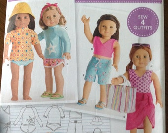 American Girl doll clothes pattern, beachwear for 18 inch dolls, swimsuit and sarong,  doll's tote bag, dolls Bermuda shorts, dolls crop top