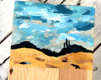 Landscape Trees In a Field - Acrylic Painting on Wood, miniature art