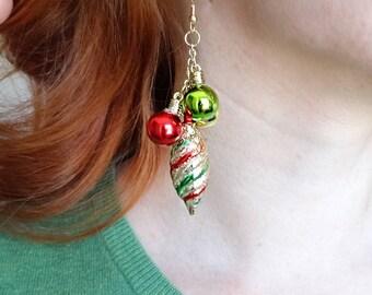 christmas earrings dangle, gold christmas earrings, ugly sweater party earrings, holiday earrings, christmas earrings gold, festive earrings