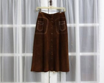 1960s Front Button Dark Brown Suede Skirt - Leather Contrast Stitch Boho MidiSkirt Size 6
