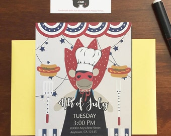 4th of July Invitation// Custom BBQ Party card // 4th of July BBQ party card // Independence day Invitation