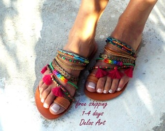 Aladin Colorful Sandals, Leather sandals, Greek Sandals, slip on  sandals, Summer shoes, Women's Shoes,  leather shoes, boho sandals