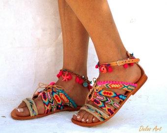 "leather sandals, Friendships  Boho Sandals, ""JOSEFINE"",  Pom pom summer shoes,  Handmade Sandals, Greek Sandals,  Bohemian sandals"
