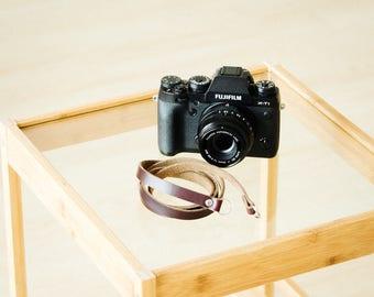 Minimalist Leather Camera Strap - Chromexcel x Rivet Burgundy
