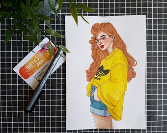SALE / Adidas Girl / ORIGINAL Illustration