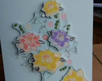 3D Pastel Flower Decoupage Greeting Card