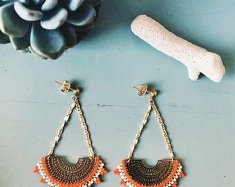 "Capsule collection ""Majorelle Garden"": Earrings beads Miyuki in Golden brass"