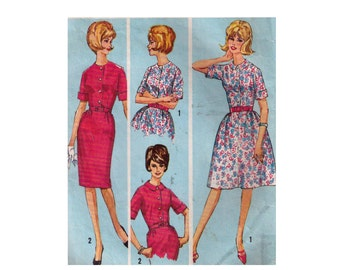 """Simplicity 5278, 60s sewing pattern, size 16 bust 37"""" women's dress pattern, high round neckline, rolled sleeves, slim skirt"""