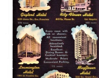 60s California Travel Linen Postcard CA Hotel Your Five Hotels On The Pacific Coast Posted Vintage Stamp Postmarked 1966