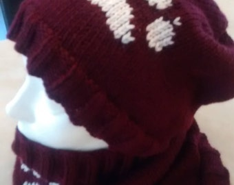 """All hat """"slouchy"""" and neck Burgundy and white"""