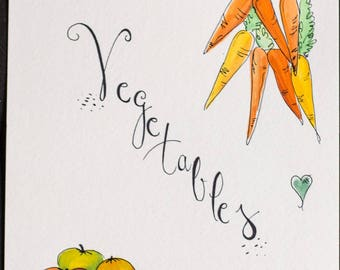 Vegetables Watercolor ORIGINAL Art