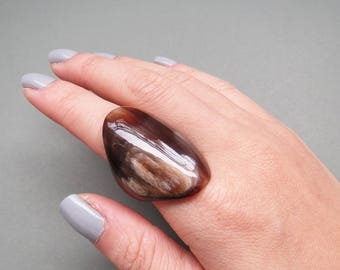 Chunky Ring, Thick Ring, Brown Ring, Horn Ring, Handcrafted Ring, Handmade Ring, Large Ring, Big Ring, Horn Jewelry, Buffalo Horn Ring