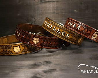 PERSONALIZED LEATHER COLLAR // Personalised leather dog collar // High quality dog collar // Dog collar with name // wolf // Stark