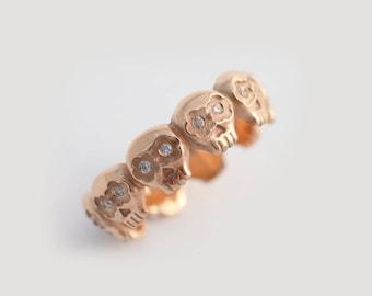 Rose Gold Skull Ring, 14K Gold Wedding Band, Diamond Skull Wedding Ring, Gold Sugar Skull Ring, Gothic Wedding Rings, Skull Eternity Ring