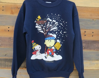 0446 - 50s - Peanuts Characters - Navy Blue sweater