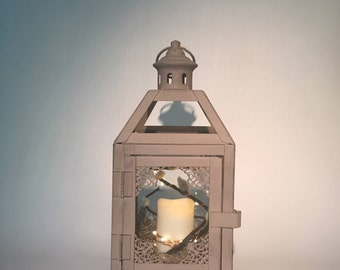 Mini Grey Lantern with candle/grey lantern/small lantern/table centerpiece/hanging/fairy light/wedding lantern/gray