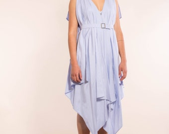 simple, elegant dress, draped evening dress, cocktail dress, light blue, dress in organic cotton dress with belt, dress with neckline