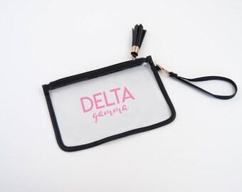 Delta Gamma Clear Wrist Clutch, Clear Stadium Bag, Clear Game Day Purse, Delta Gamma Stadium Bag, Sorority Clutch, Clear Football Bag