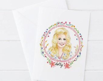 Dolly Parton Illustrated Greeting Card 5x7