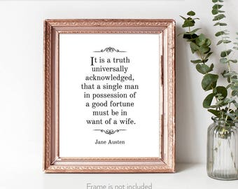 Pride and Prejudice / Jane Austen quotes / Literary gift print / Bibliophiles / Book quotes / Literary decor /