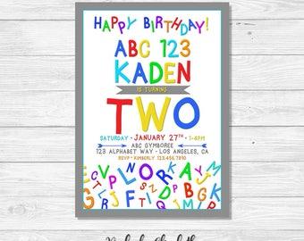 ABC Invitation, 2nd Birthday Invitation, Two Year Old Invites, Abc 123, Digital Invitation, *DIGITAL FILE*