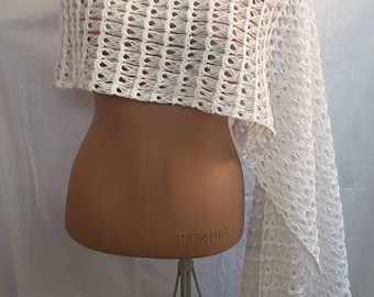 New unique handmade in Ukraine crocheted cotton linen summer wedding shawl wrap scarf poncho capelet made to order