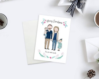 Custom Christmas Portrait / Custom Portrait Christmas Card /  Family Illustration Christmas Cards / Personalized Christmas Gifts for her