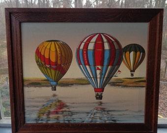 H. Hargrove Hot Air Balloons Original Oil Painting On Canvas Framed Oil Painting 25x28 Hot Air Balloons Around The World