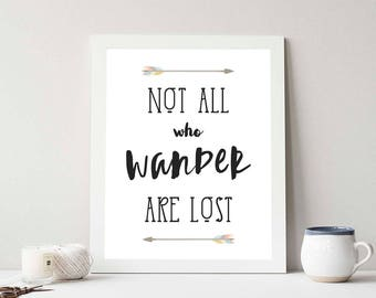 Explore Printable, Wanderlust Print, Wanderlust Quote, Minimalist Print, Wall Decor, Not all who wander are lost quote, Instant Download
