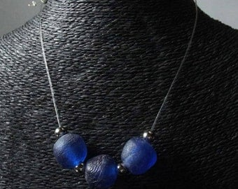 """Necklace """"antica Vienna collection"""" blue glass paste."""