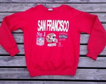 Vintage 80's/90's San Francisco 49ers National Football League red crewneck sweatshirt Sized L