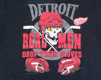 "Deadstock Vintage 90's 1994 Detroit Red Wings ""Real Men Drop Their Gloves"" t-shirt large"