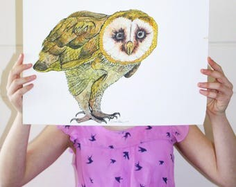 Owl Print / Owl Poster / Nursery Animal Print / Kids Wall Art / Bird Print  / Bird Art / Animal Illustration / A4 A3