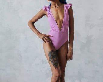Women's one piece swimsuit | Lilac swimsuit | High waisted swimwear