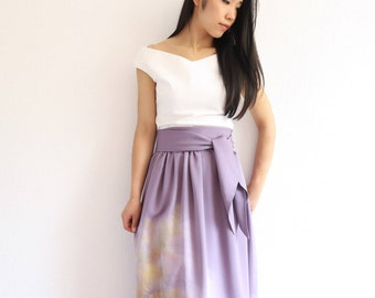 Vintage Japanese Kimono Skirt | Long Skirt | Purple Skirt | Japanese Dress |  Bridesmaid Dress |